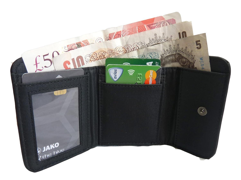 Señoras bolso de piel pequeña - negro moneda monederos - 2 monedas y tarjeta Secciones - Parte trasera foto o ID ventana - Full Zip Alrededor de Monedero ...