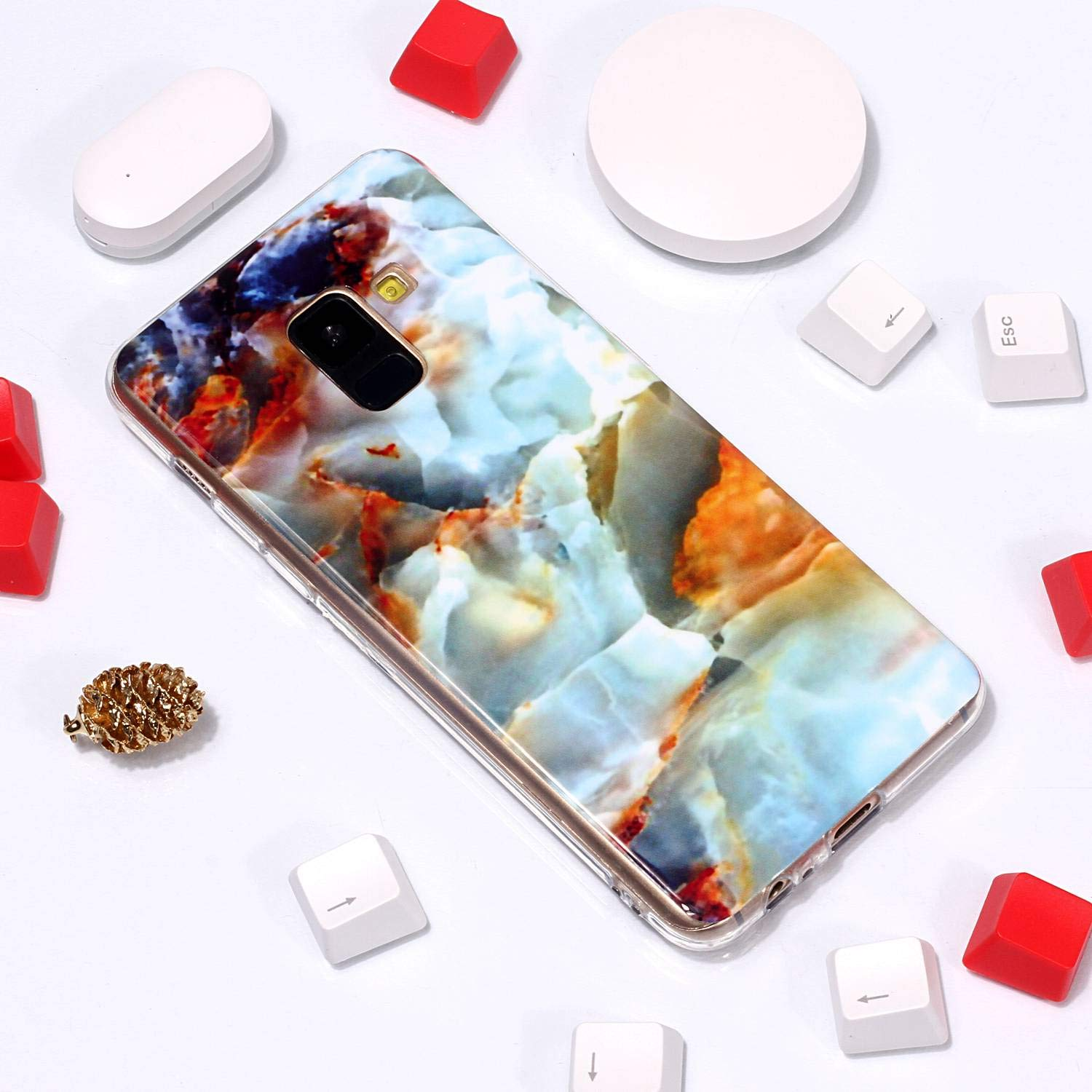 for Samsung Galaxy A6 2018 Marble Case with Screen Protector,Unique Pattern Design Skin Ultra Thin Slim Fit Soft Gel Silicone Case,QFFUN Shockproof Anti-Scratch Protective Back Cover - Fire Cloud by QFFUN (Image #4)