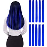 "Colored Clip in Hair Extensions 22"" 10pcs Straight Fashion Hairpieces for Party Highlights Blue"