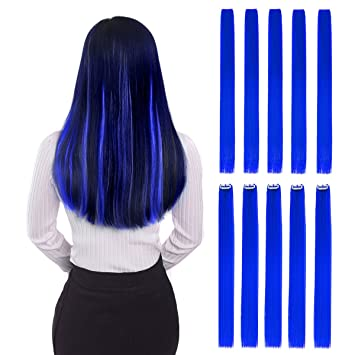 Colored Clip In Hair Extensions 22 10pcs Straight Fashion Hairpieces For Party Highlights Blue