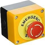 Sourcingmap avec bouton de boîtier en plastique AC 660V, 10A Rouge d'arrêt d'urgence forme de champignon