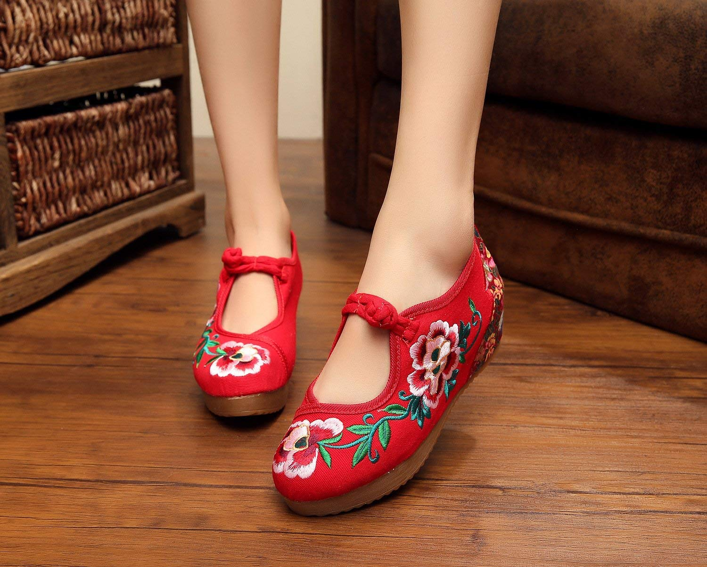 Fuxitoggo Bestickte Schuhe Leinen Sehnensohle Ethno-Stil Erhöhte Erhöhte Erhöhte Damenschuhe Mode bequem lässig rot 37 (Farbe   - Größe   -) d4850c
