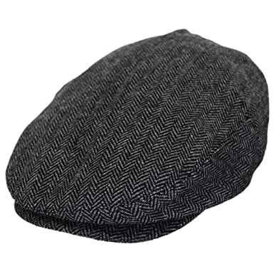 3d06192f6fe Baskerville Hat Company Dartmoor Herringbone Wool Ivy Cap - Gray Black  (Small)