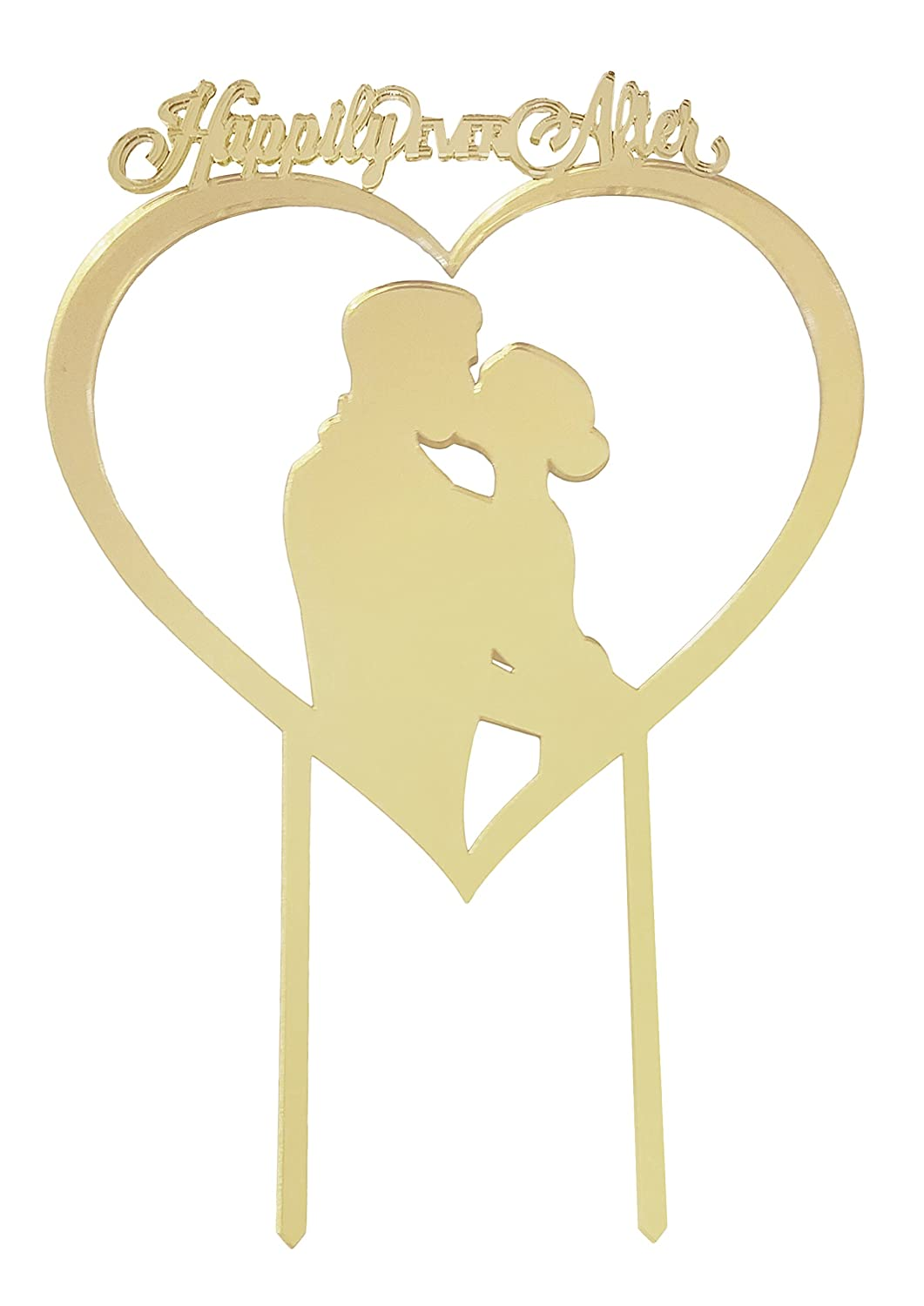 Amazon.com: Romantic Silhouette Wedding Cake Topper, Unique Happily ...
