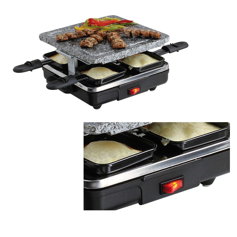 Raclette para 4 personas piedra eléctrico Barbacoa Parrilla de piedra (4 Sartenes, antiadherente, con mesa pequeña barbacoa, parrilla, ...