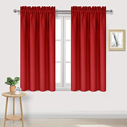 DWCN Blackout Thermal Insulated Room Darkening Window Curtains Rod Pocket Red Kitchen Curtains 42 X 54 Inches Length Set Of 2 Short Curtain Panels