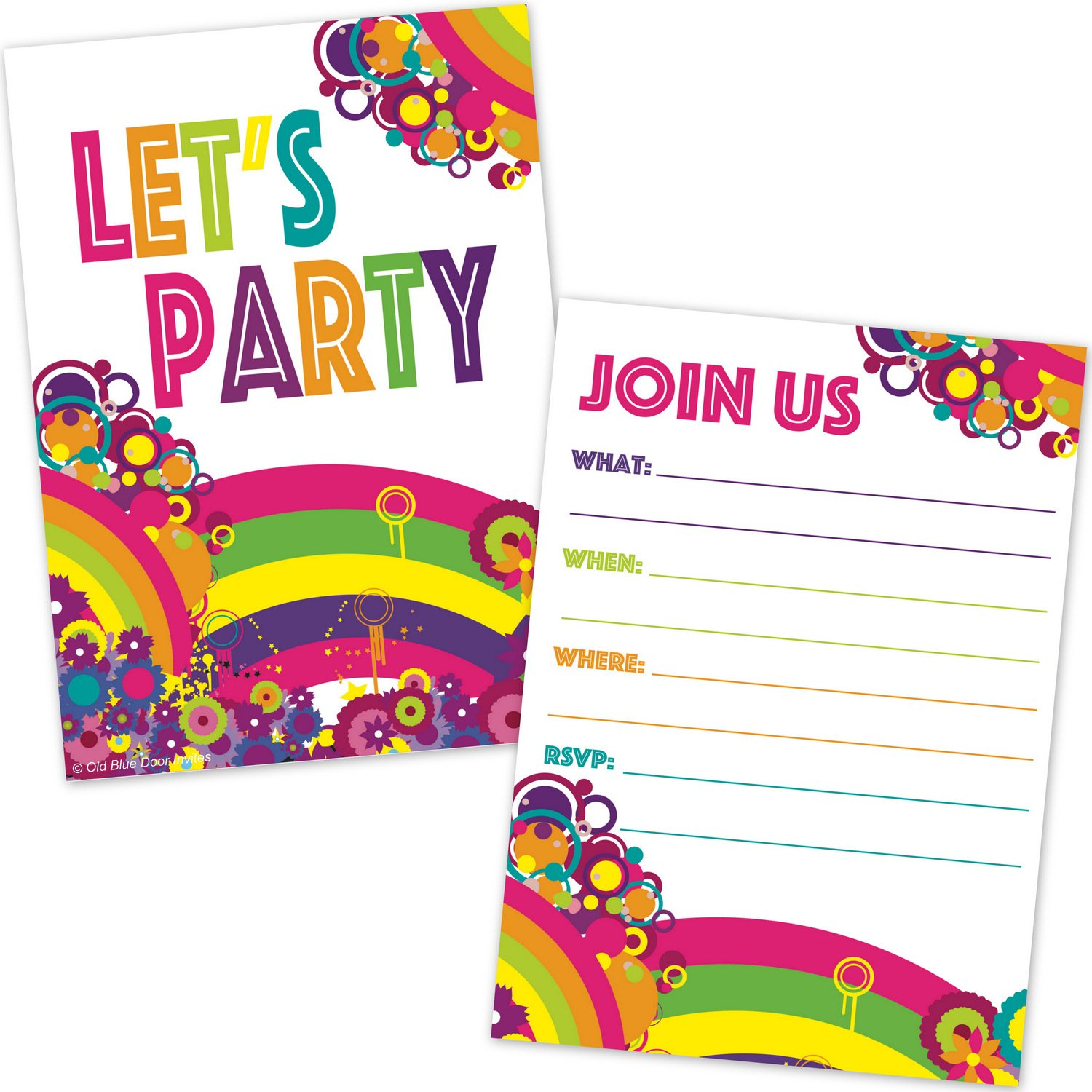 Old Blue Door Invites Colorful Retro Rainbow Art Splash Party Invitations For Any Occasion