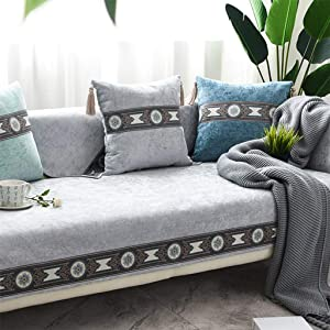 Anti-Slip Couch Cover, Reversible Jacquard Quilted Sofa Slipcover Machine Washable Furniture Protector Multi-Size Sofa Cover-T-90x240cm(35x94inch)