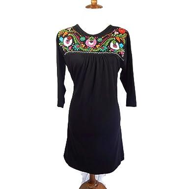 El Huarachero, Vestido Mexicano Bordado Negro Hecho a Mano ...
