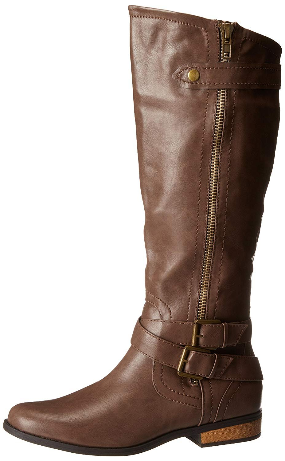 Rampage Women's Hansel Zipper and Buckle Knee-High Riding Boot B0786NTV88 6 B(M) US|Brown