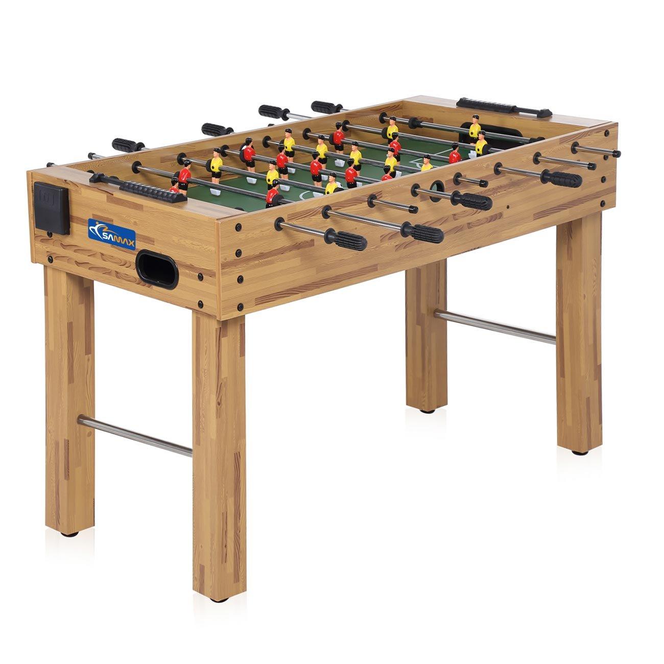 SAMAX Table de Babyfoot Jouer au Baby-foot comprenant 2 Porte-Gobelets Dépliables 4 balles en bois table de baby-foot Poignées en Caoutchouc Antidérapantes