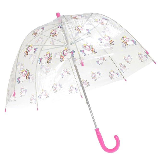 91df92fab470c X-Brella Childrens/Kids Transparent Unicorn Themed Stick Umbrella