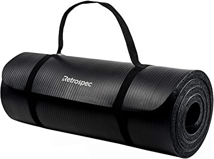 Retrospec Solana Yoga Mat 1 Thick W Nylon Strap For Men Women Non Slip Excercise Mat For Yoga Black 1 Inch Mats Amazon Canada