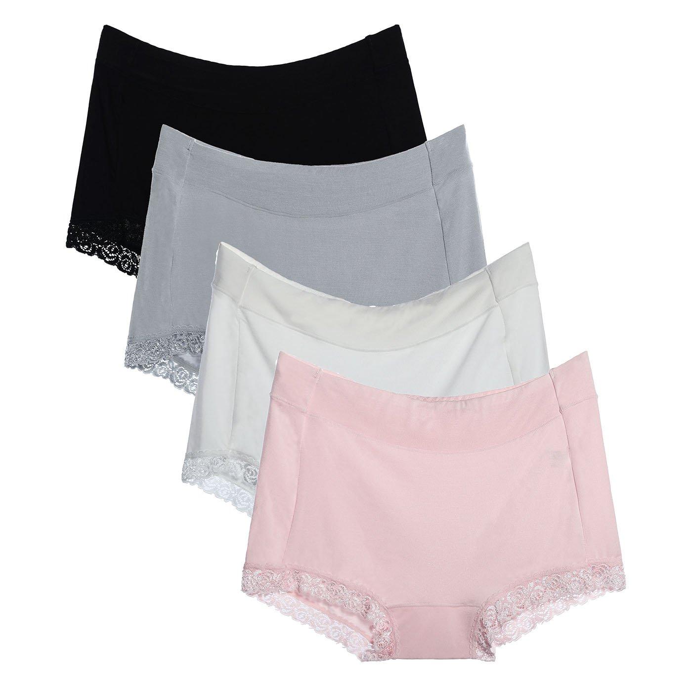 LEVAO Women Seamless Boyshort Panties Stretch Boxer Briefs Soft Panties 4 Pack