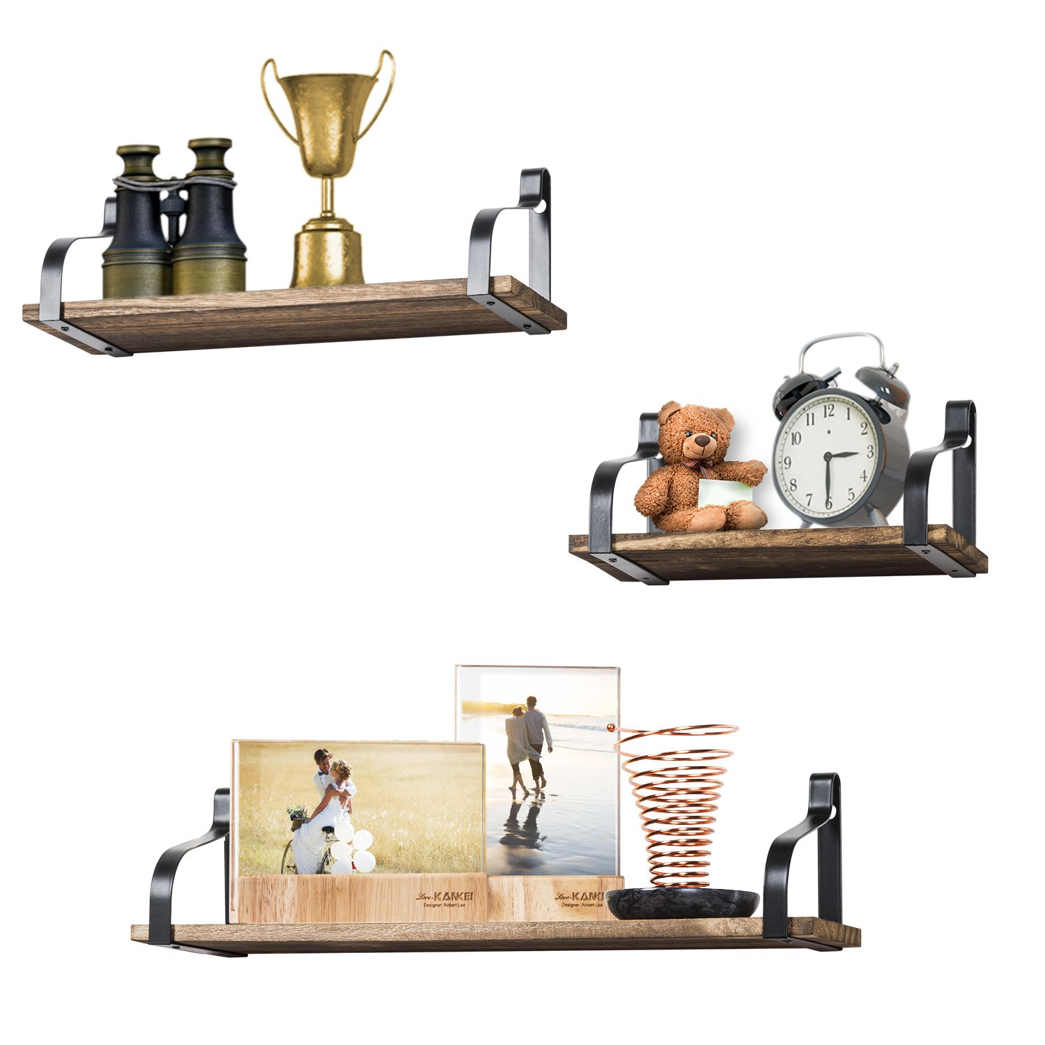 Love-KANKEI Floating Shelves Wall Mounted Set of 3, Rustic Wood Wall Storage Shelves for Bedroom, Living Room, Bathroom, Kitchen, Office and More by Love-KANKEI (Image #7)