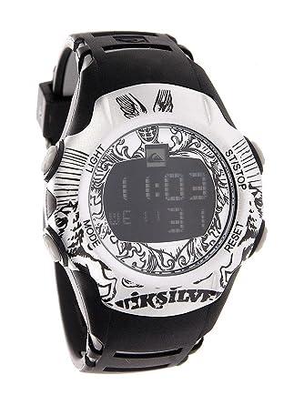 Quiksilver Y018DR/SIL - Reloj digital infantil de cuarzo con correa de plástico plateada (alarma, luz, cronómetro) - sumergible a 100 metros: Amazon.es: ...