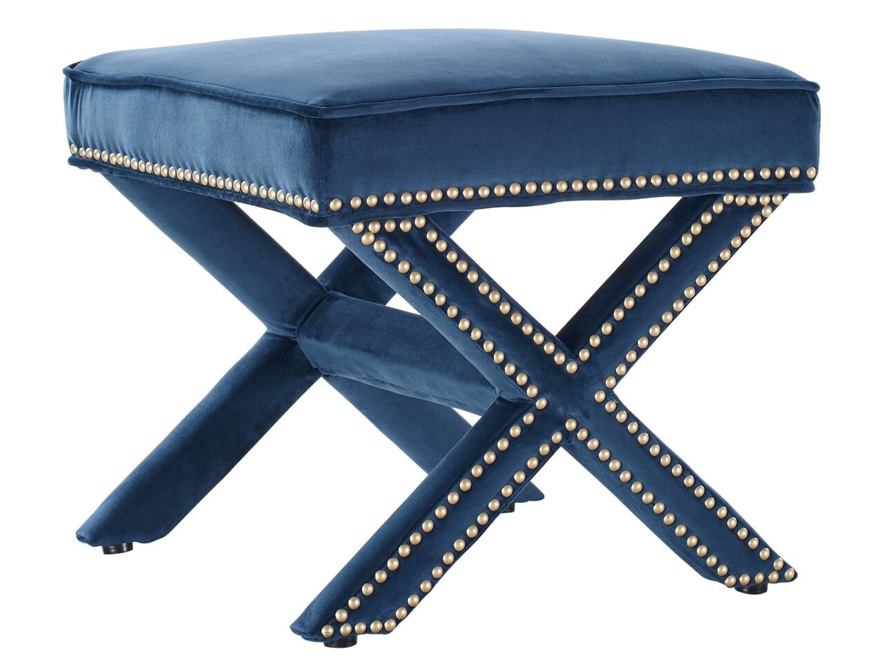 Tov Furniture Reese Velvet Ottoman, Navy
