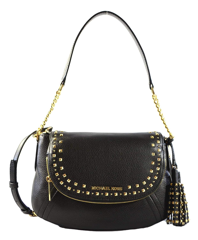3a58064ebdb8 Michael Kors Aria Studded Tassel Medium Convertible Leather Shoulder  Crossbody Bag Purse Handbag (Black)  Handbags  Amazon.com