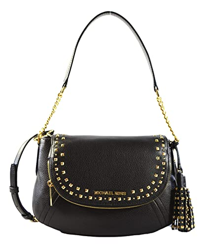 8f3f31e97a47 Michael Kors Aria Studded Tassel Medium Convertible Leather Shoulder  Crossbody Bag Purse Handbag (Black)
