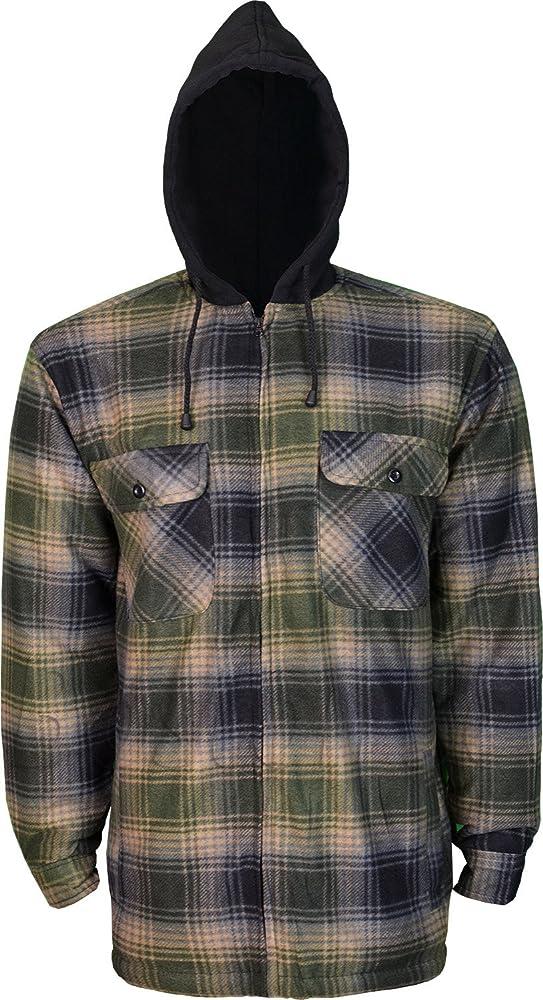 Boston Con capucha térmico completo piel acolchada de forro polar acolchado camisa de leñador chaqueta con cremallera frontal: Amazon.es: Ropa y accesorios