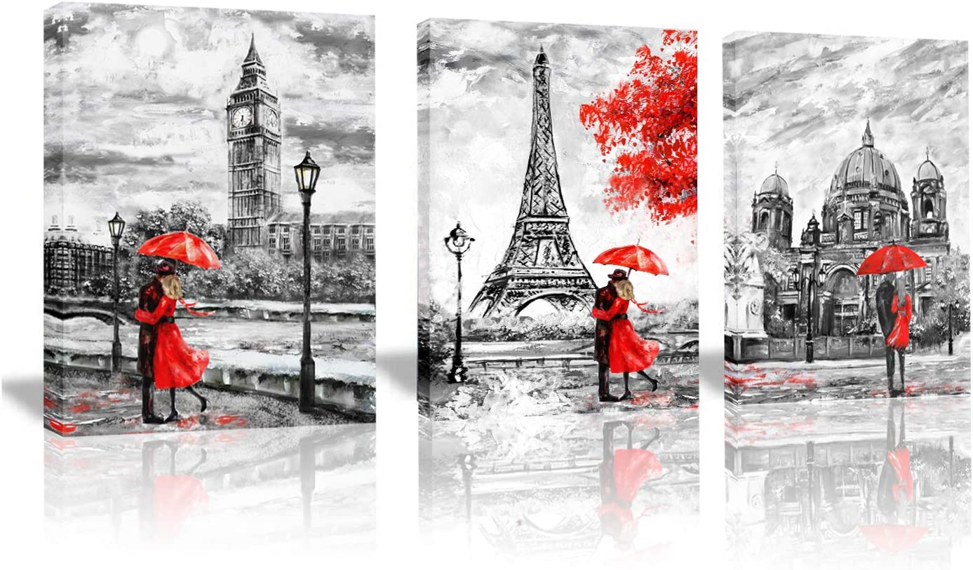 Modern Paris Effiel Tower London Big Ben Berlin City Wall Decor Art Black and White Red Painting Prints Street View Lover with Umbrella Canvas Painting (Black-Red, 12x16inchx3(30x40cmx3)