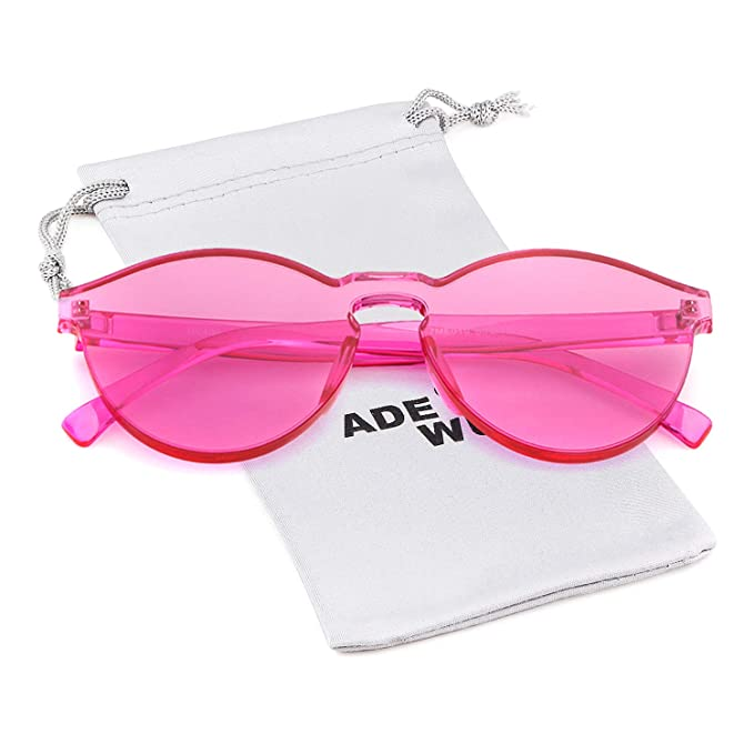 1da164178b Image Unavailable. Image not available for. Color  One Piece Rimless  Transparent Round Sunglasses ...