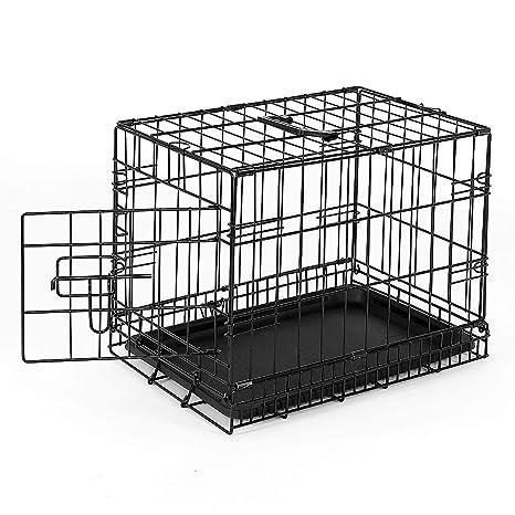 dibea DC00490, jaula de transporte para perros y animales pequeños, caja robusta hecha de alambre fuerte, plegable / con bisagras, 1 puerta, con ...