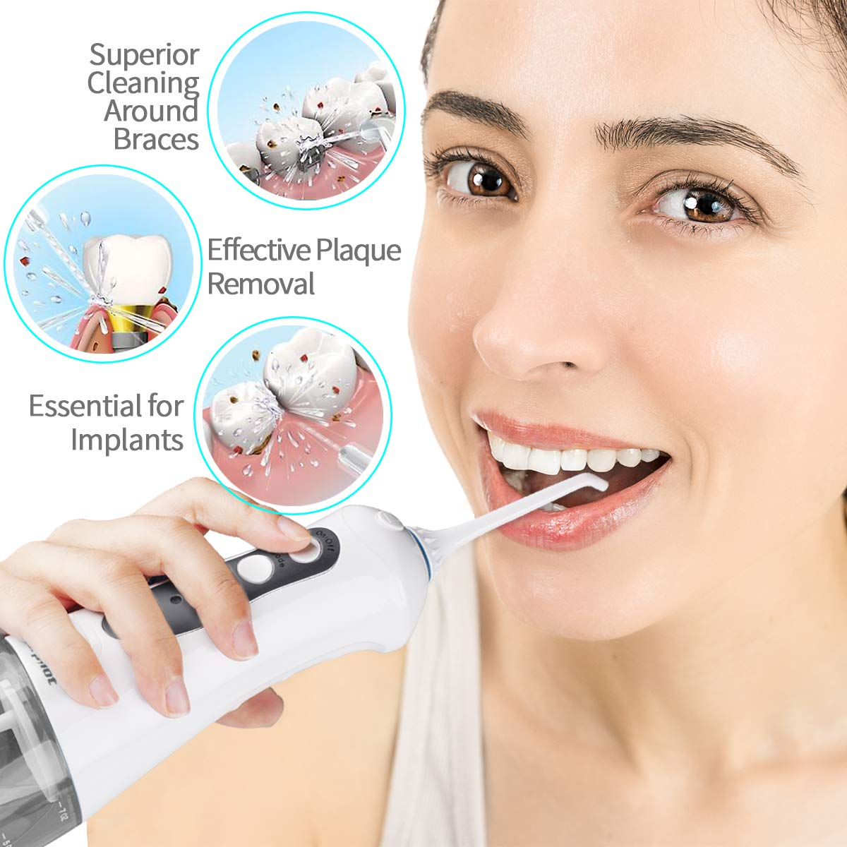 Water Flosser for Teeth,Power Floss Water Jet with 4 Jet Nozzles for Teeth Clean,Upgrade 300ml Detachable Reservoir,IPX7 Waterproof, USB Rechargeable, 3 Water Pressure and FDA Approved,Adapter Not Inclued
