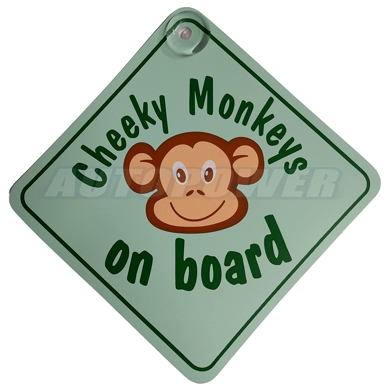 Cheeky Monkey On Board Green Suction Safety Fun Car Display Window Badge Sign