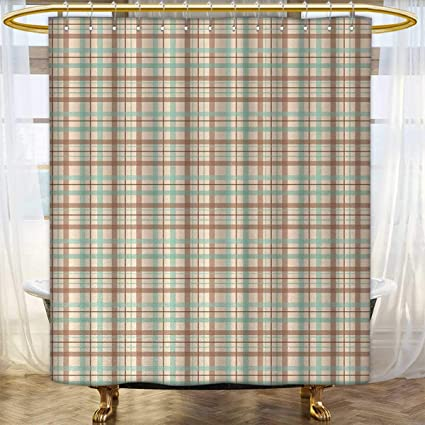 Anhounine Plaid Shower Curtains Digital Printing Scottish Country Style Tartan With Abstract Design Diagonal Striped Lines