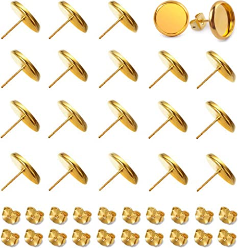 Alysee 40pcs 20pairs Tray: 12mm; Pin: 1mm Gold Plated Stainless Steel Stud Earring Cabochon Setting Flat Round Bezel Ear Studs Posts Blank Tray Base for DIY Earring Making