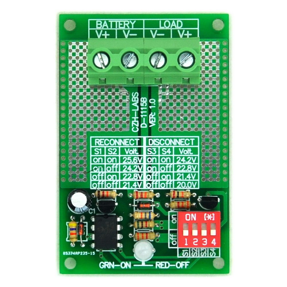 Electronics-Salon Low Voltage Disconnect Module LVD, 24V 30Amp, Based on MCU and MOSFET.