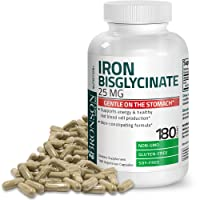 Bronson Iron Bisglycinate 25 mg Gentle on The Stomach, Supports Energy & Healthy Red Blood Cell Production - Non-Constipating Formula - Non GMO, 180 Vegetarian Capsules