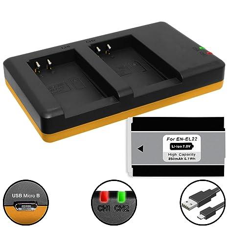 Red Para Auto Y Cargador Para Nikon en-el24 Sistema Compacto Nikon 1 J5 Batería De Cámara