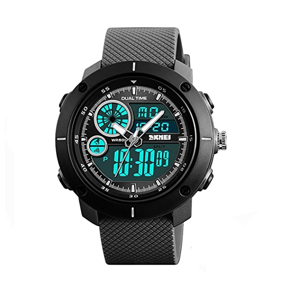 SKMEI - Reloj digital y analógico para hombre con correa de goma, color negro: Amazon.es: Relojes
