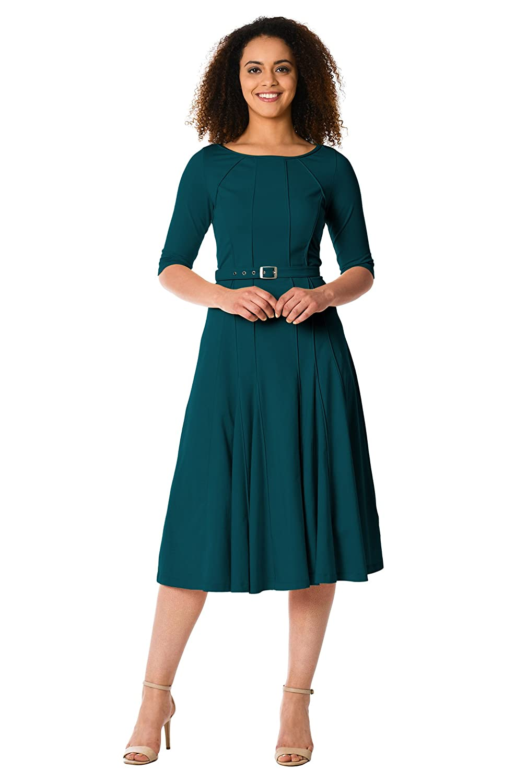 1940s Plus Size Dresses | Swing Dress, Tea Dress eShakti Womens Cotton Knit Godet Belted Dress $64.95 AT vintagedancer.com