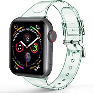 YOTAN 2Pack Silicone Watch Band Compatible with Apple Watch 38mm 40mm 42mm 44mm Shiny Bling Glitter Wristband Ultra Thin Narrow Replacement Sport Strap for iWatch Series 6 5 4 3 2 1 (Green+Grey)