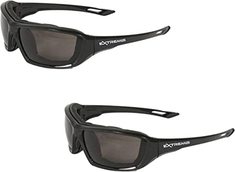 Pack of 2 Radians XT1-11 Extremis Full Black Frame Safety Glasses with Clear Anti-Fog Lens