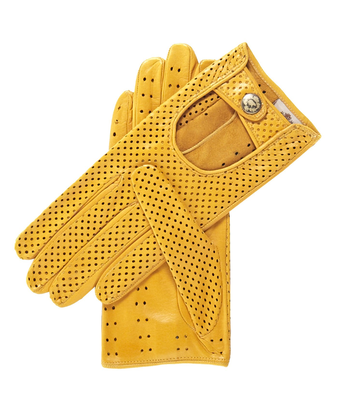 Fratelli Orsini Women's Ventilated Leather Driving Gloves Size 8 1/2 Color Yellow