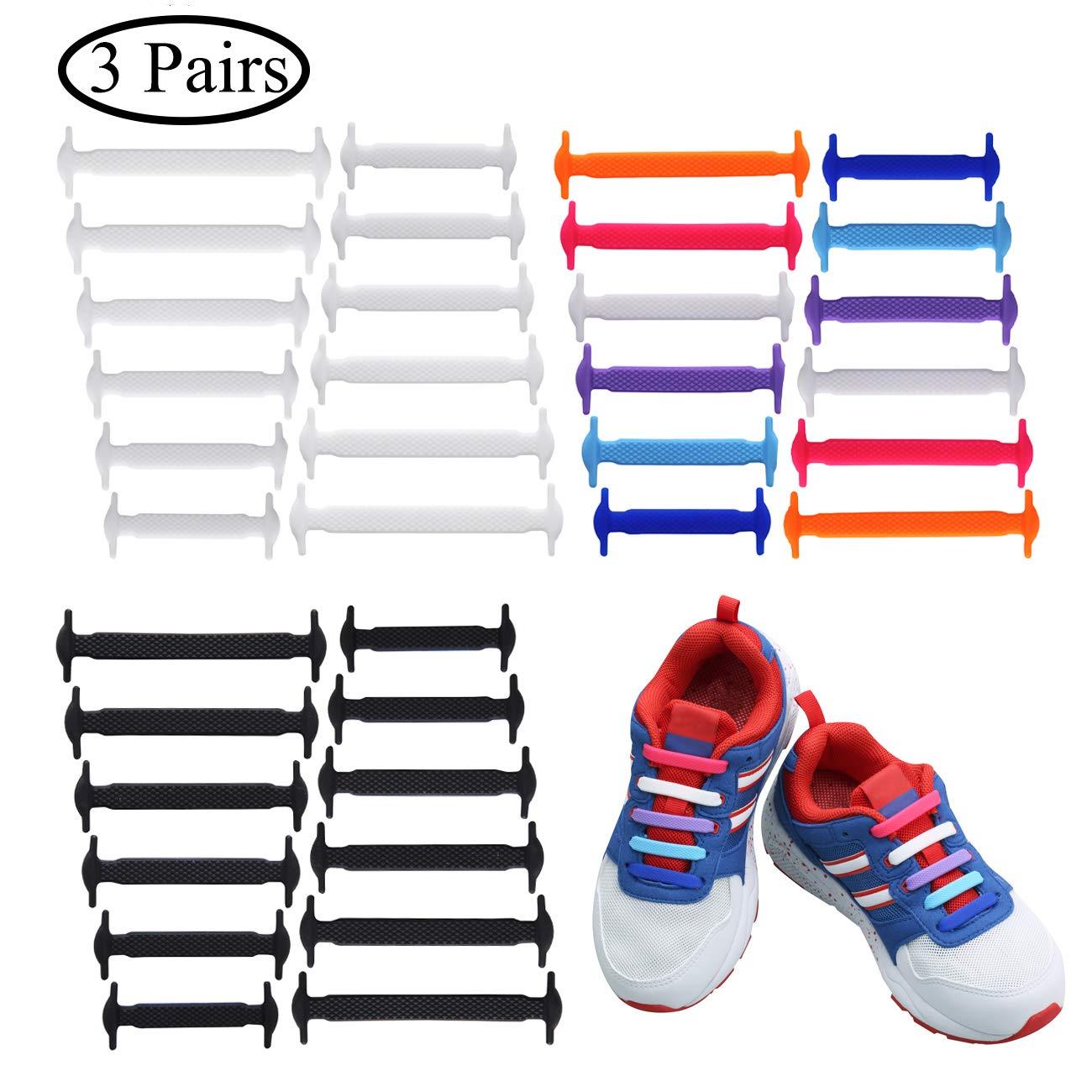Uniqhia No Tie Shoelaces Kids - Multicolor Fashion Sports Fan Shoelaces - Fits Most Types Shoes - Sneaker Boots, Board Shoes Sport Shoes Leisure Footwear (Black+White+Color, 3 Pack kids)