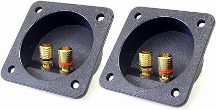 2pcs Square Copper 2-Way Loudspeaker Junction Box Terminal Binding Post 80x80mm