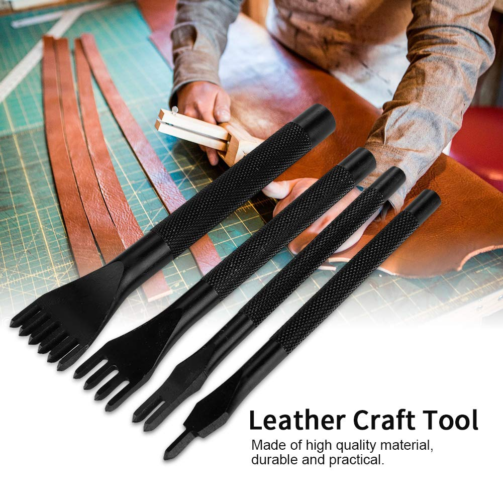 60PCS Leather Craft Hand Sewing Stitching Punch Carving Measure Polishing Tools Kit DIY Hand Tool by Walfront (Image #4)