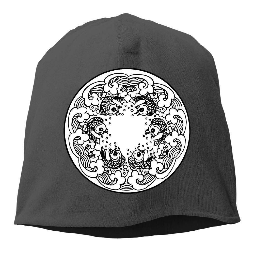 Janeither Headscarf Fish Black Hip-Hop Knitted Hat for Mens Womens Fashion Beanie Cap