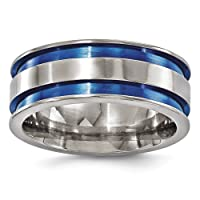 Deals on Edward Mirell Mens 8.5mm Titanium Grooved Anodized Band Open Box