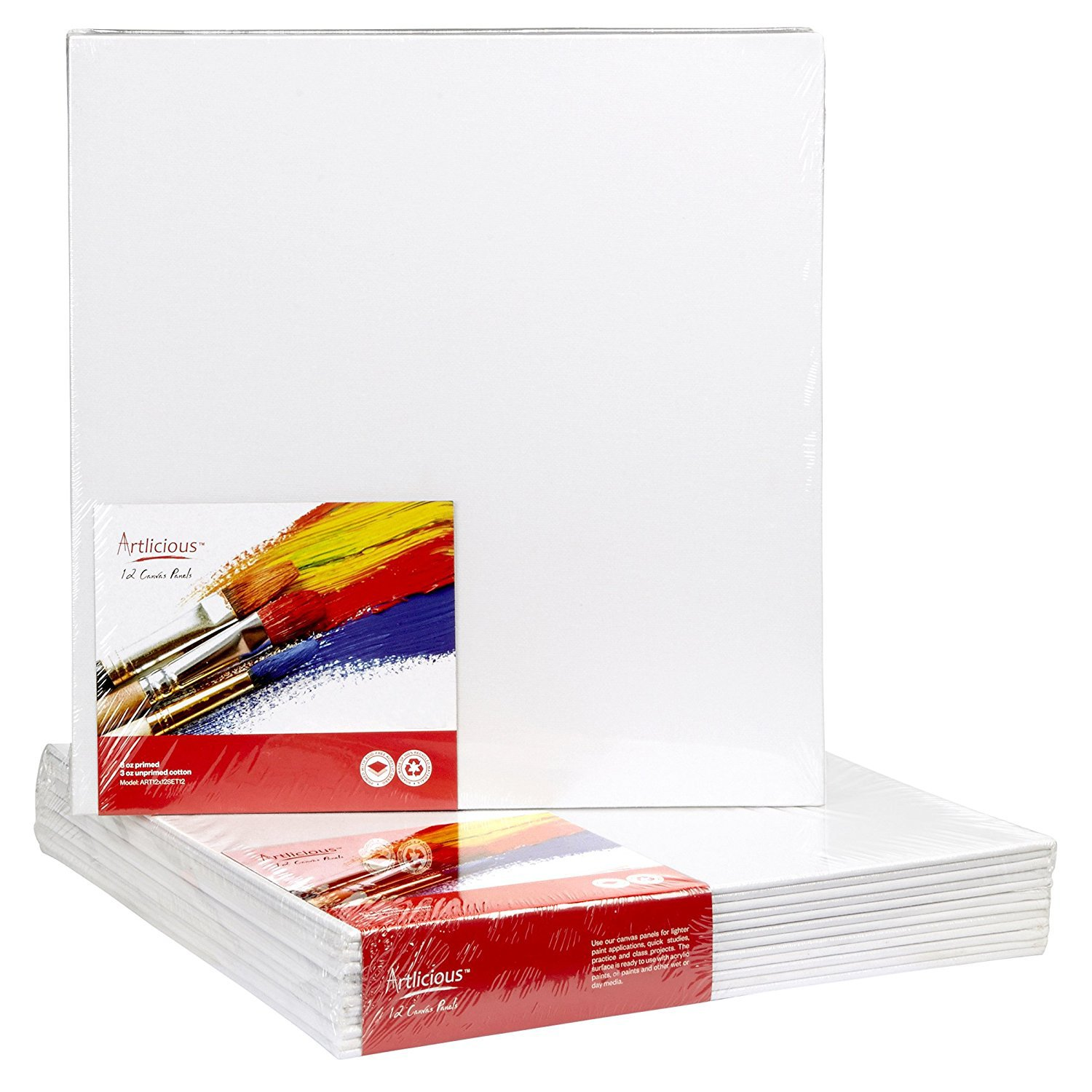 6X6 Super Value Pack Artist Canvas Panel Boards for Painting Canvas Panels 24 Pack