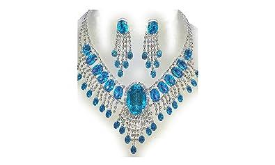 edfe74200f087 Parure de mariage Collier et boucles d'oreilles avec pierres turquoise et  strass