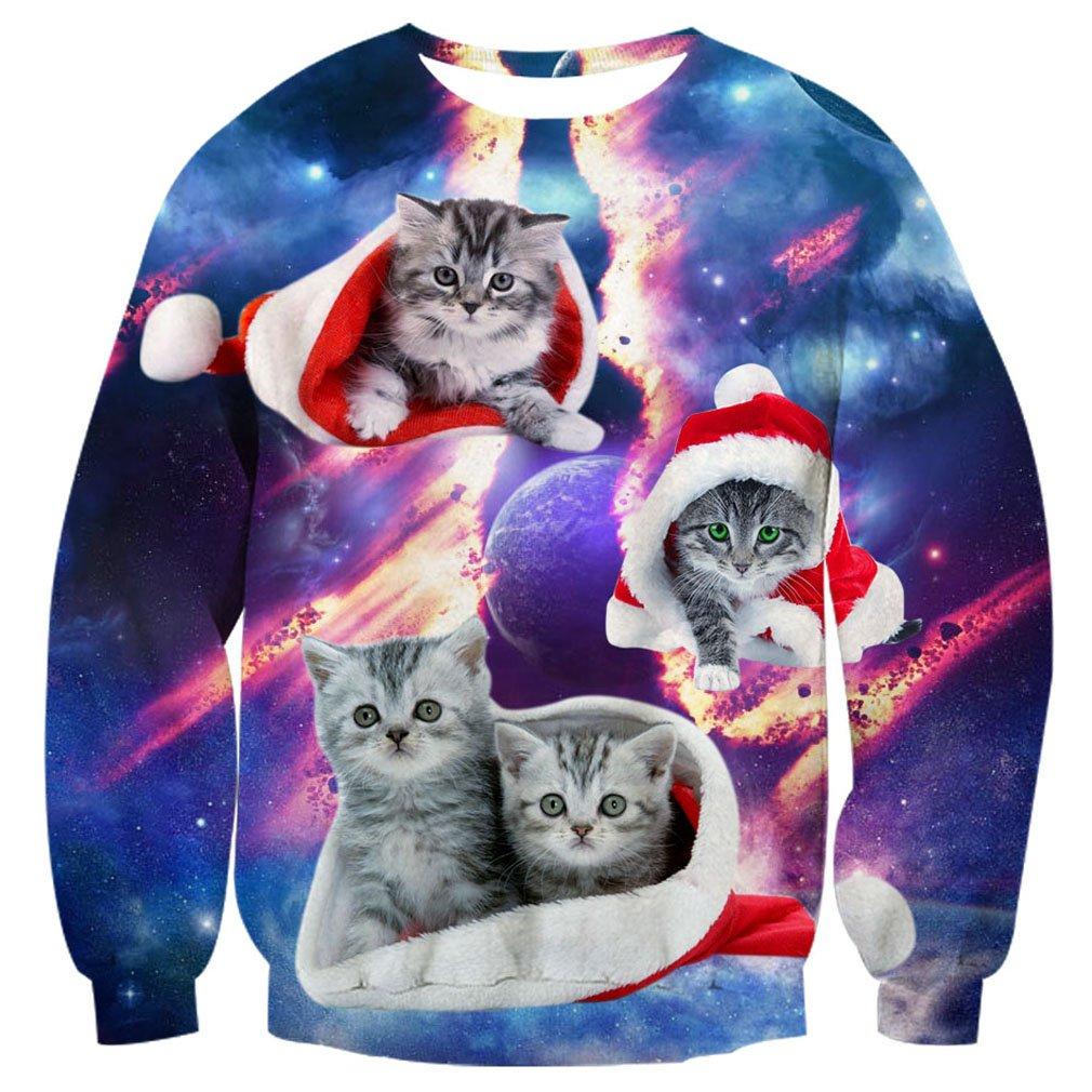 RAISEVERN Unisex Ugly Christmas Sweater 3D Print Funny Xmas Pullover Sweatshirt