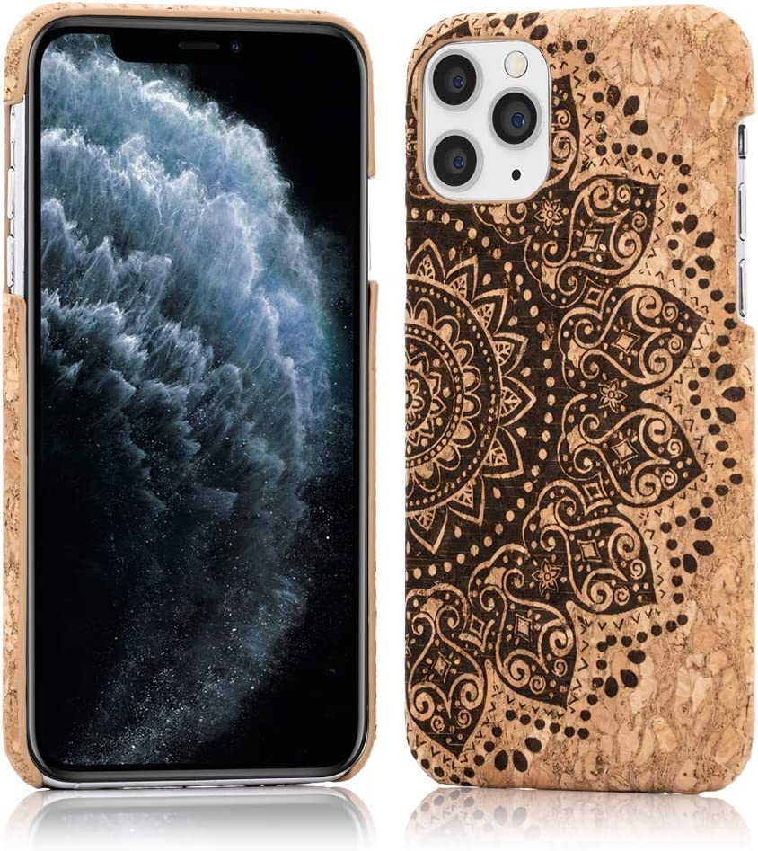 NALIA Cork Case Compatible with iPhone 11 Pro, Slim Hardcase Protective Natural Wood Cover Mobile Phone Skin, Shockproof Bumper Design Back Protector Nature Phonecase Shell, Motiv:Cork Mandala