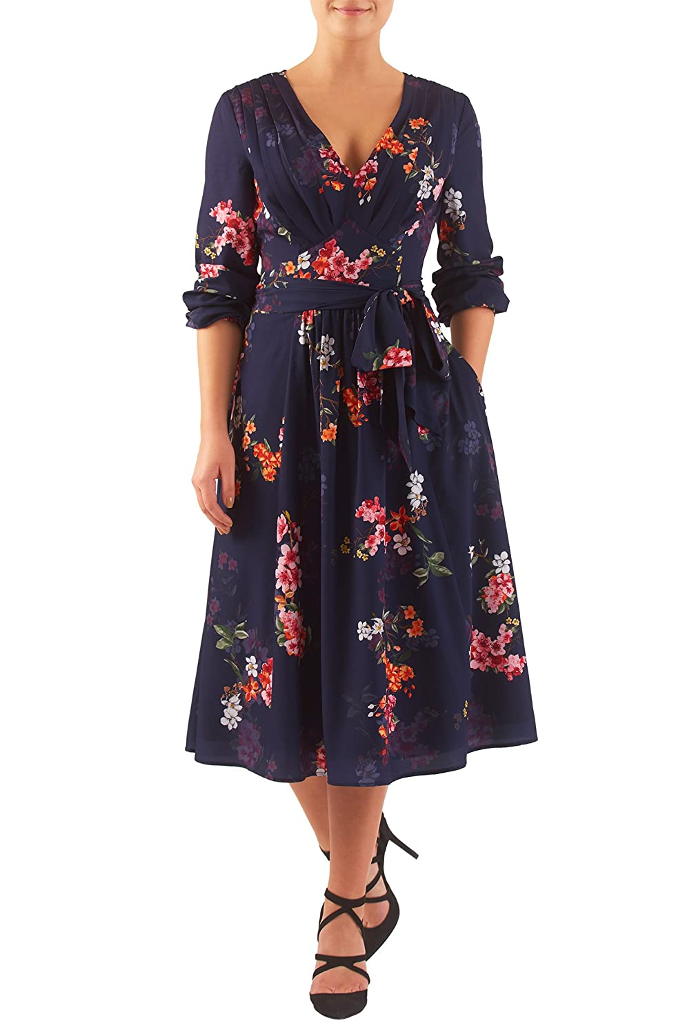 Plus Size Retro Dresses eShakti Womens Pleated floral print crepe midi dress $69.95 AT vintagedancer.com