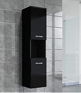 Badezimmer Schrank Montreal 131 Cm Schwarz Hochglanz Fronten U2013 Regel Schrank  Hochschrank Schrank Möbel